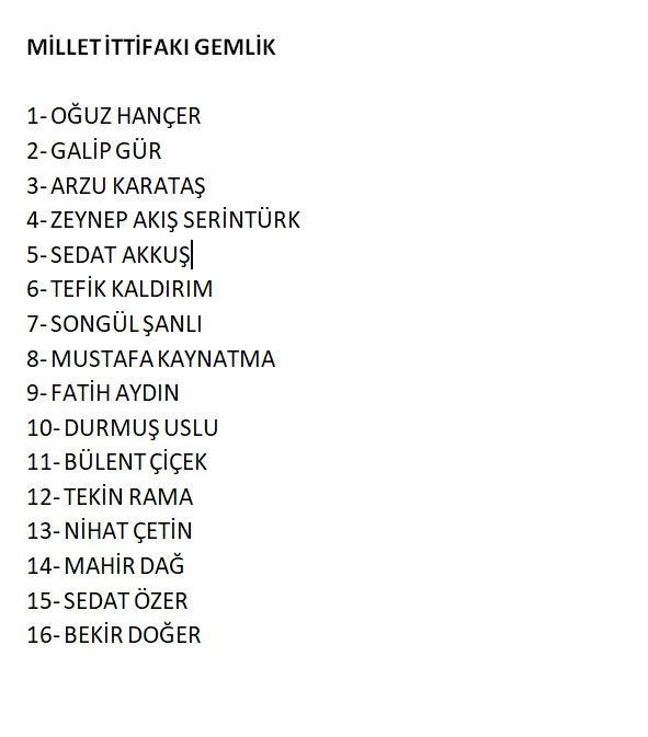 Millet İttifakı Bursa listeleri 1