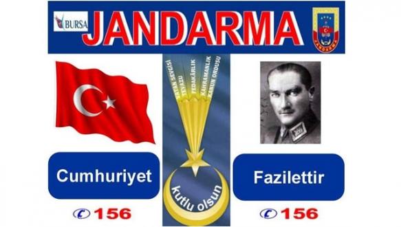 Jandarmadan Cumhuriyet Bayramına özel afiş