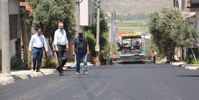Yeniköy yolunda asfalt çalışması
