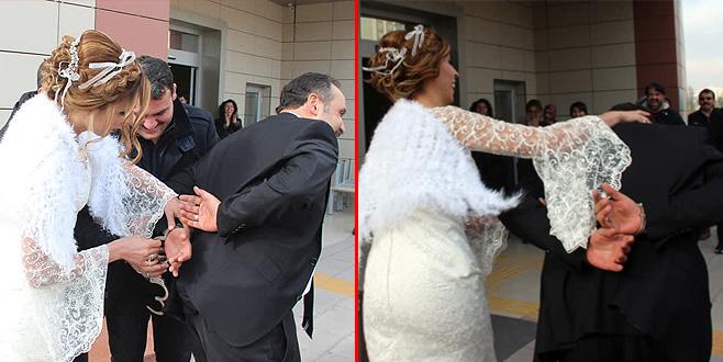 Gelin damadı nikah salonuna ters kelepçeyle getirdi