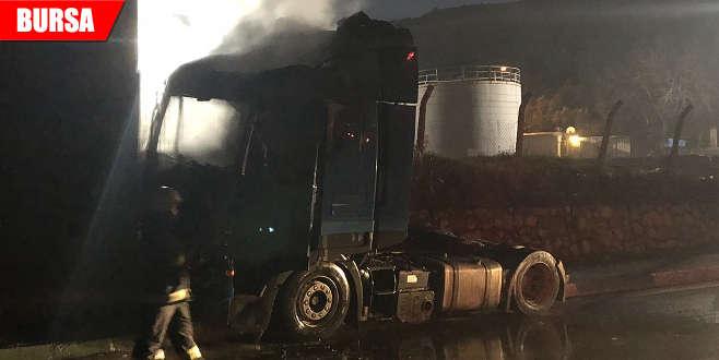 Direksiyonu kilitlenen TIR kaza yaptı, alev alev yandı