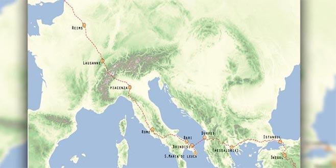 Avrupa'dan Türkiye'ye'yürüyüş yolu haritası'