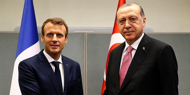 Erdoğan ile Macron 'Zeytin Dalı Harekatı'nı görüştü