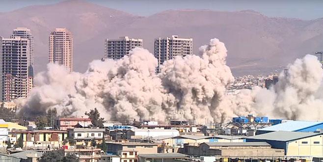 Süleymaniye'de eski tahıl silosu dinamitle patlatılarak yıkıldı