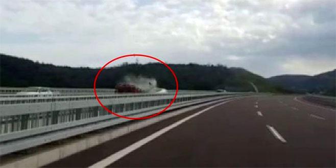 2 kişinin yanarak can verdiği kaza kamerada