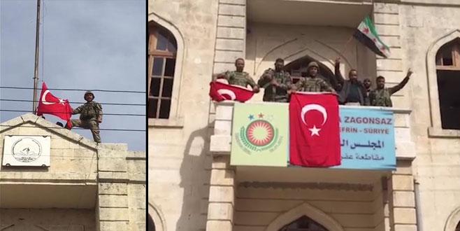 Türk askeri, Afrin ilçe merkezine Türk bayrağı çekti! İşte o anlar...