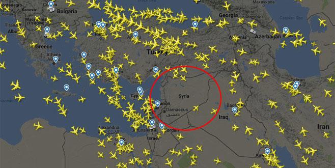 Suriye üstünde dikkat çeken görüntü