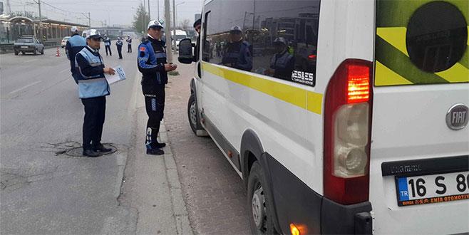 Bursa'da servis araçlarına denetim