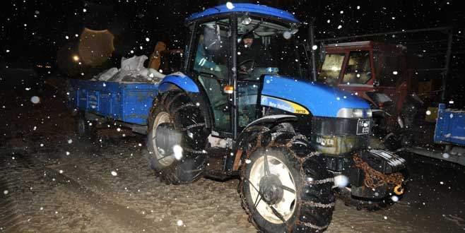 Orhangazi'de karla mücadele