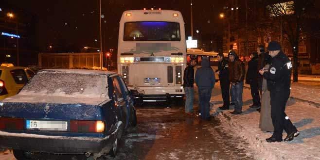 Otobüse çarptı
