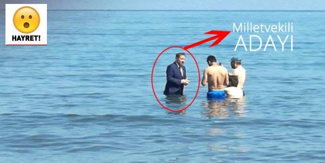 Milletvekili adayı denizde 'dip dalga'yı arıyor