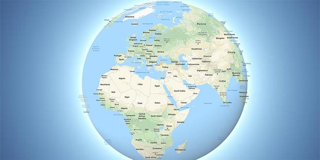 Google Dünya'yı artık küre olarak gösteriyor