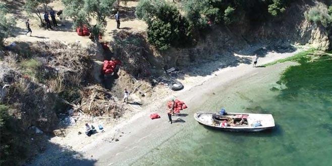 Bursa'da kaçak midyeciler Drone ile yakalandı