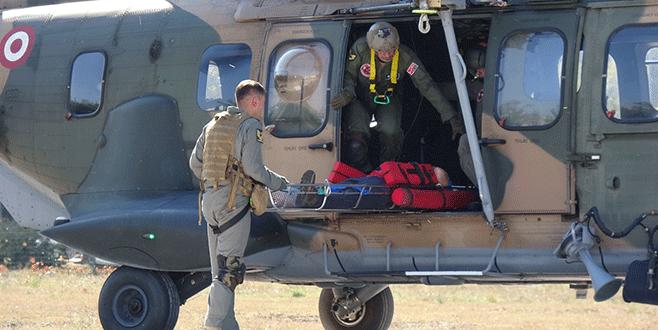 Uludağ'da yaralıya askeri helikopterle sevk