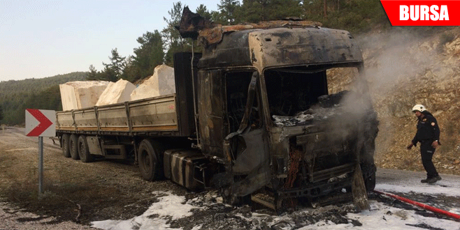 Bursa'da motor bölümü alev alan TIR yandı