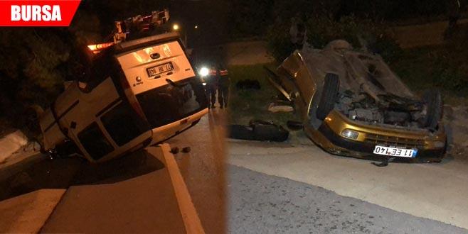 2 aracın takla attığı kazada emekli astsubay yaralandı