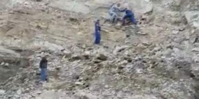 İnegöl'de baraj inşaatının yamacına çıktı, mahsur kaldı
