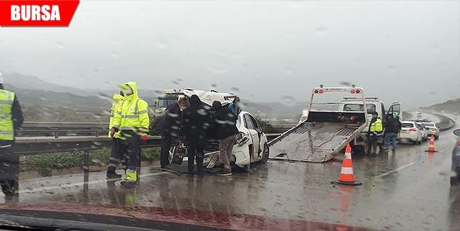 Otobanda trafiği felç eden kaza