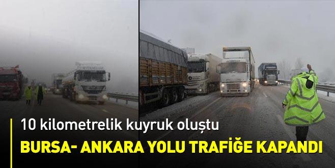 Bursa- Ankara yolunda TIR kaydı, yol kapandı; 10 kilometre kuyruk oluştu