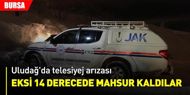 Uludağ'da telesiyej arızalandı, mahsur kalan 11 kişi kurtarıldı