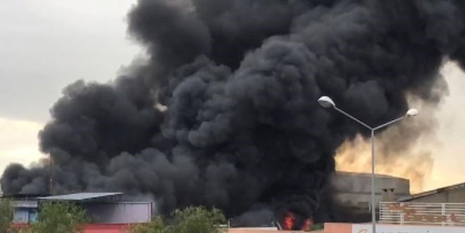 Kuruyemiş fabrikasında yangın