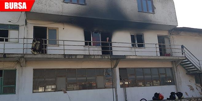 Mermer fabrikasında yangın