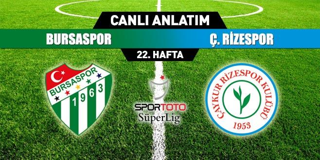 Bursaspor 0-1 Çaykur Rizespor (ilkyarı sonucu)