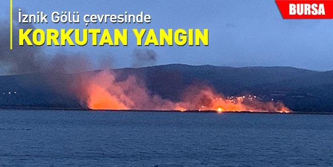 İznik Gölü çevresinde korkutan yangın