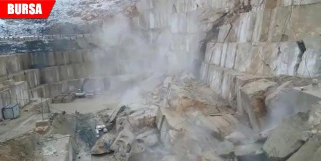 Mermer ocağının çökme anı saniye saniye görüntülendi