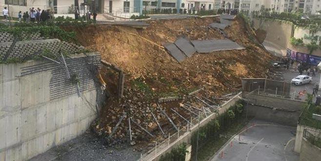 İstanbul Başakşehir'de istinat duvarı çöktü