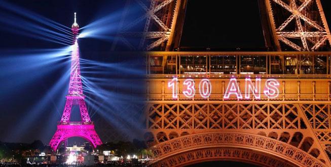 Eyfel Kulesi 130.yaşını ışık gösterileriyle kutluyor