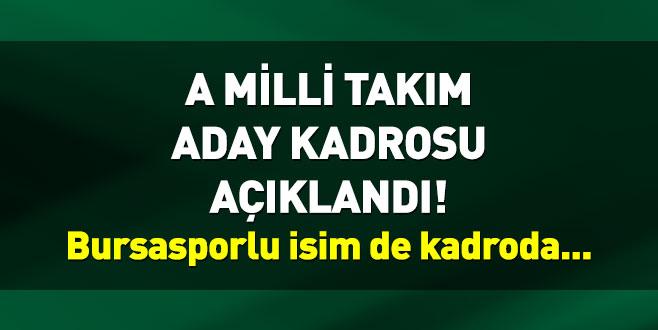 A Milli Takım aday kadrosu açıklandı! Bursasporlu isim de kadroda...