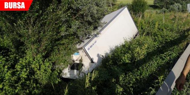 Gıda yüklü kamyon devrildi: 1 yaralı