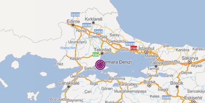 Marmara Denizi'nde gece saatlerinde deprem