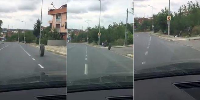 Fırlayan kamyon lastiği kaldırımdaki çocuğa çarptı