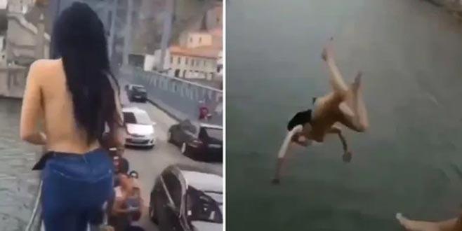 Çırılçıplak soyunarak köprüden nehre atladı