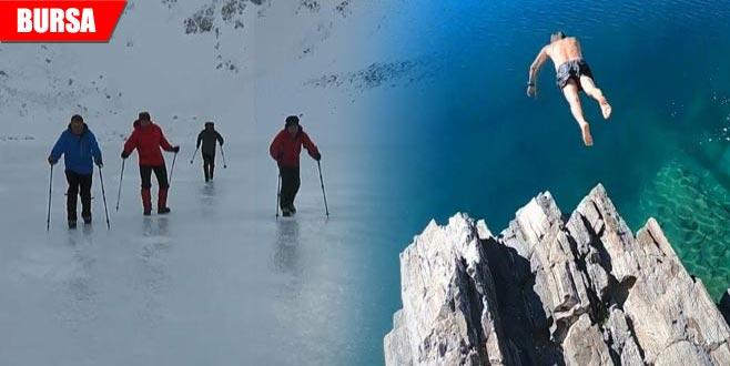 Kışın yürüdüler, yazın yüzdüler! Ziyaretçi akınına uğruyor