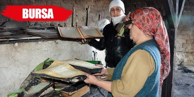Küle dönen evden sadece Kuran-ı Kerim sağlam çıktı