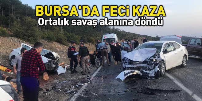Bursa'da feci kaza: Ortalık savaş alanına döndü