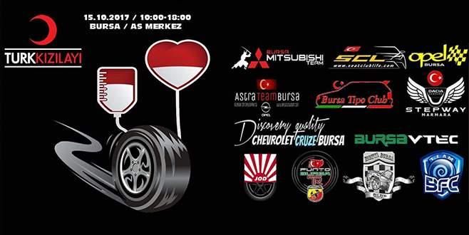 Bursa'da otomobil grupları kan bağışı için bir araya geliyor