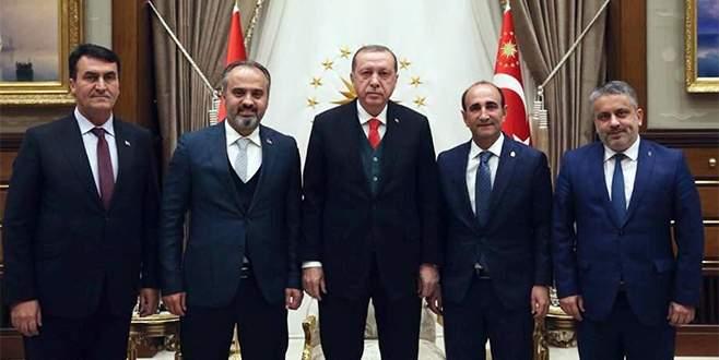 Bursa belediye başkanlarının Cumhurbaşkanı ziyaret fotoğrafı...