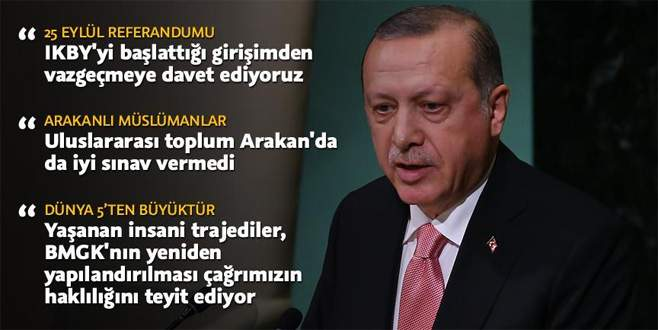Cumhurbaşkanı Erdoğan BM Genel Kurulu'na hitap etti
