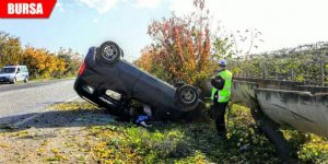 Direksiyon hakimiyetini kaybeden araç takla attı: 1 yaralı