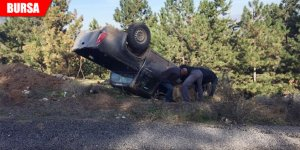 Gizli buzlanma sebebiyle araç takla attı