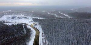 Longoz ormanları ve Balkan köyleri beyaza büründü