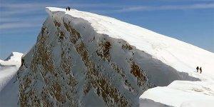 Uludağ'da dağcıların zorlu yolculuğu kamerada