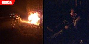 Kaza yapan araç alev aldı: 2 ağır yaralı