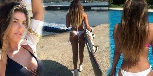 Şarkıcı Hatice'nin bikinili ve sörf tahtalı videosu olay oldu!