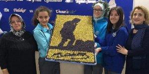 Öğrencilerden emek dolu proje! Zeytin taneleriyle Atatürk portresi yaptılar