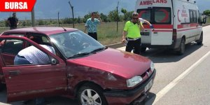 Otomobil yan yattı: 2 yaralı
